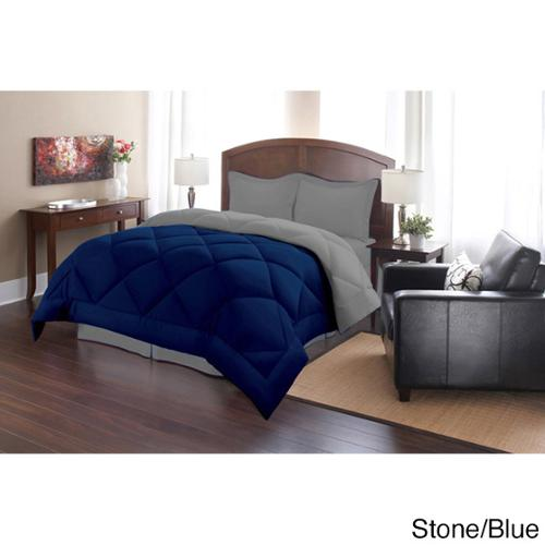 Down Alternative Solid Reversible 3-piece Comforter Set Full/ Queen- Stone/Blue