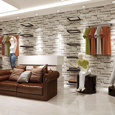 2 Pack 57sq.ft/393.7'' x 21'' Removable Waterproof 3D Embossed Effect Brick Stone Modern Wall Sticker Wallpaper Roll Vinyl for Restaurant Living Room TV Background Home