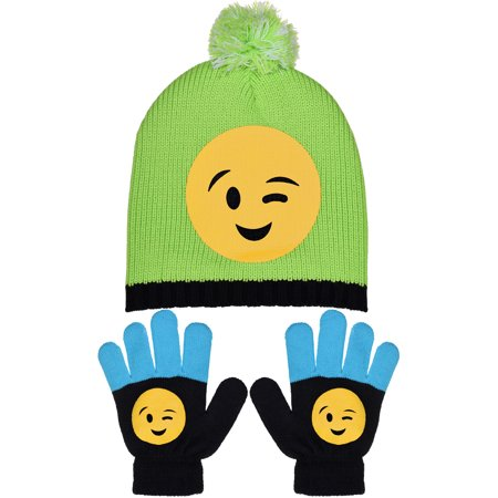 Girl's Emoji Smiley Face Knit Pom Hats & Beanie with Gloves - Columbia Hats Gloves