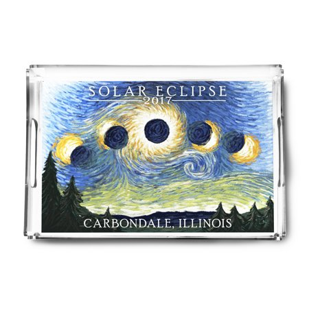 Carbondale Illinois Halloween (Carbondale, Illinois - Solar Eclipse 2017 - Starry Night - Lantern Press Artwork (Acrylic Serving)