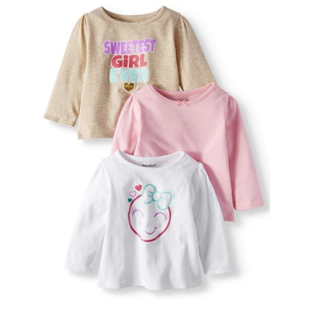 Long Sleeve Graphic & Solid T-Shirts, 3-pack (Baby Girls)