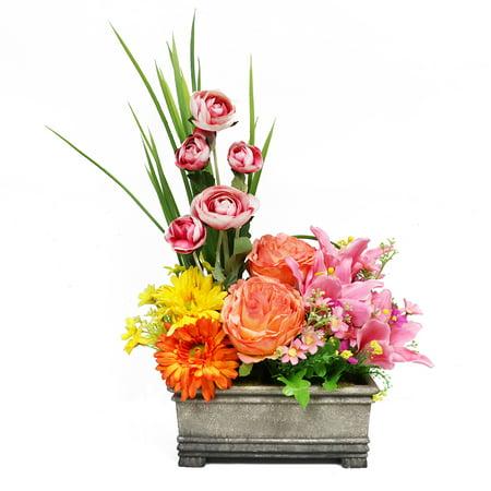 Puleo International 23 in. Indoor Artificial Flower Arrangement in Planter - Cheap Flower Arrangements