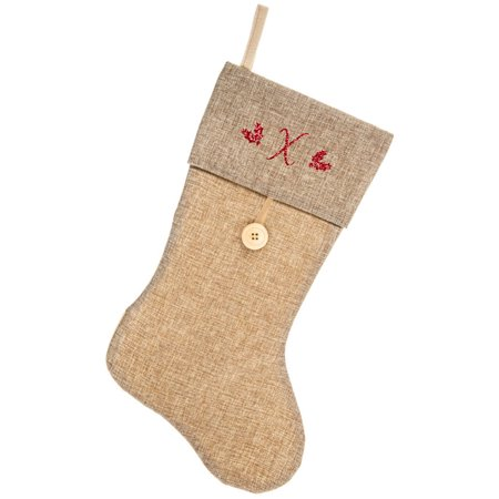 Monogrammed Christmas Stocking, Natural Burlap and Button with Script Glitter Initial