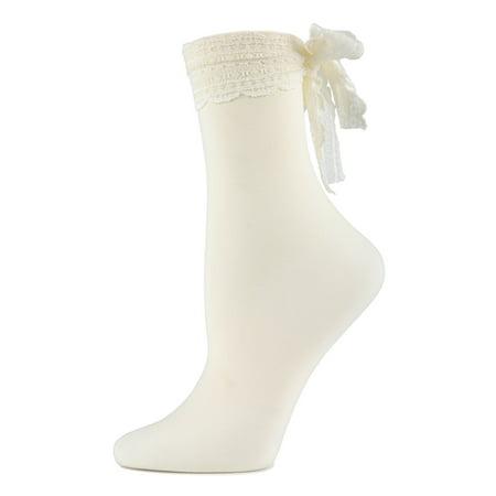 MeMoi Chiffon Lace Ribbon Ankle Socks | Women