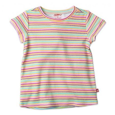 Zutano Screen Fitted Tee- Rainbow Candy Stripe, -