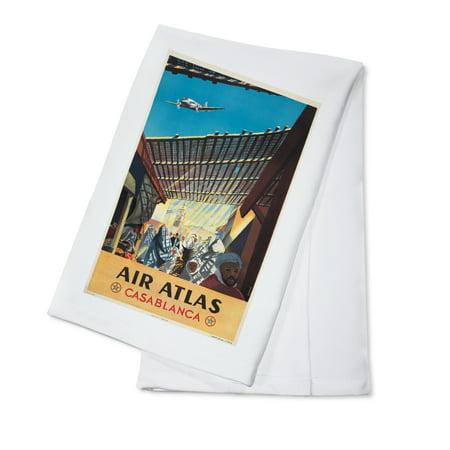 Air Atlas   Casablanca Vintage Poster  Artist  Anonymous  France C  1953  100  Cotton Kitchen Towel
