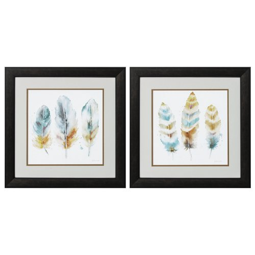 Bungalow Rose 'Feather' 2 Piece Framed Watercolor Painting Print Set