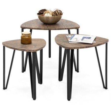 Best Choice Products Set of 3 Modern Leisure Wood Nesting Coffee Side End Tables for Living Room, Office, Brown ()