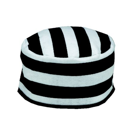 Adult's Felt Criminal Prisoner Hat With Black and White Stripes (Striped Top Hat)