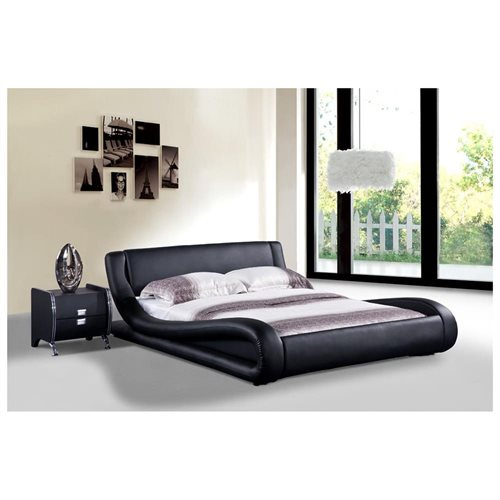 Dona Contemporary Faux Leather Platform Bed, Black, Queen