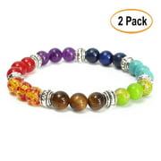 2Pcs Ramadan Bracelet 8mm Crystal Beads 7 Chakra Healing Diffuser Reiki Gemstone Bracelet Jewelry Gift
