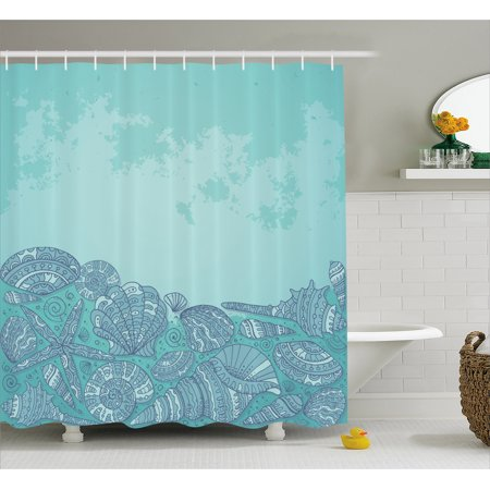 Nautical Shower Curtain Marine Beauty Shell With Seahorse Starfish Oysters Ocean Sea Tropical Image