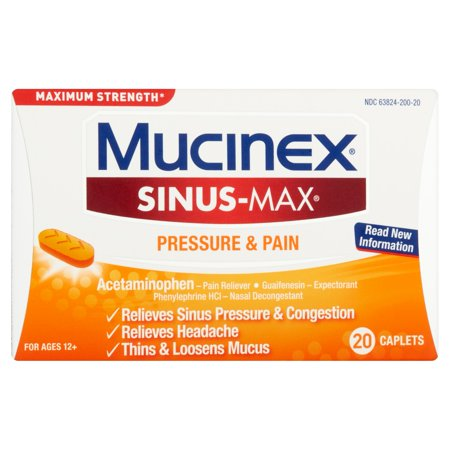 Mucinex Sinus-Max Pressure & Pain for Ages 12+ Caplets, 20 (Best Natural Cure For Sinus Infection)