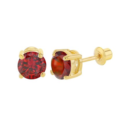18k Gold Plated January Red Round Cubic Zirconia Girls Screw Back Earrings 0.23