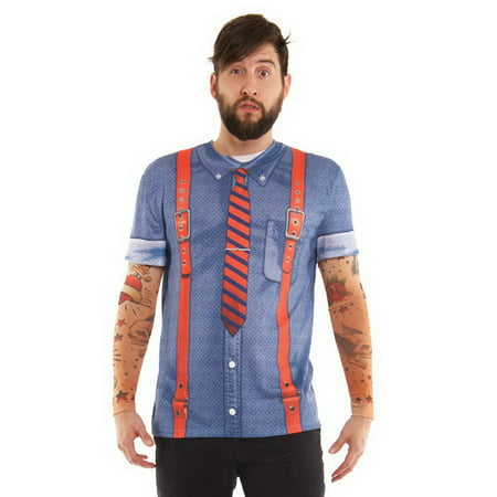 Mens Hipster Suspenders Tattoo Tee Shirt With Tattoo Mesh Long Sleeves