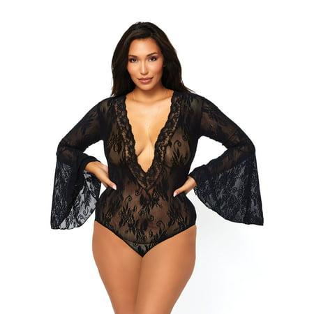 Women's Stretch Lace Deep-V Bell Sleeve Bodysuit, Black, Plus Size