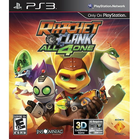 Sony PlayStation 98175 Ratchet & Clank: All 4 One PS3, Play alone or with up to three other friends cooperatively as Ratchet, Clank, Qwark or Dr. Nefarious By Pan Pacific