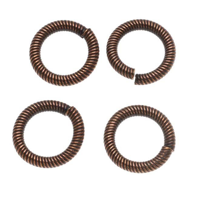 Antiqued Copper Plated Large Rope Twist Open Jump Rings 16mm 12 Gauge (4)