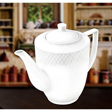 Wilmax WL-880111, 25 oz. Julia Collection White Porcelain Coffee Pot, Classic European Bone China Traditional Coffee Server with Lid, Gift Box Bone China China Sugar Bowl