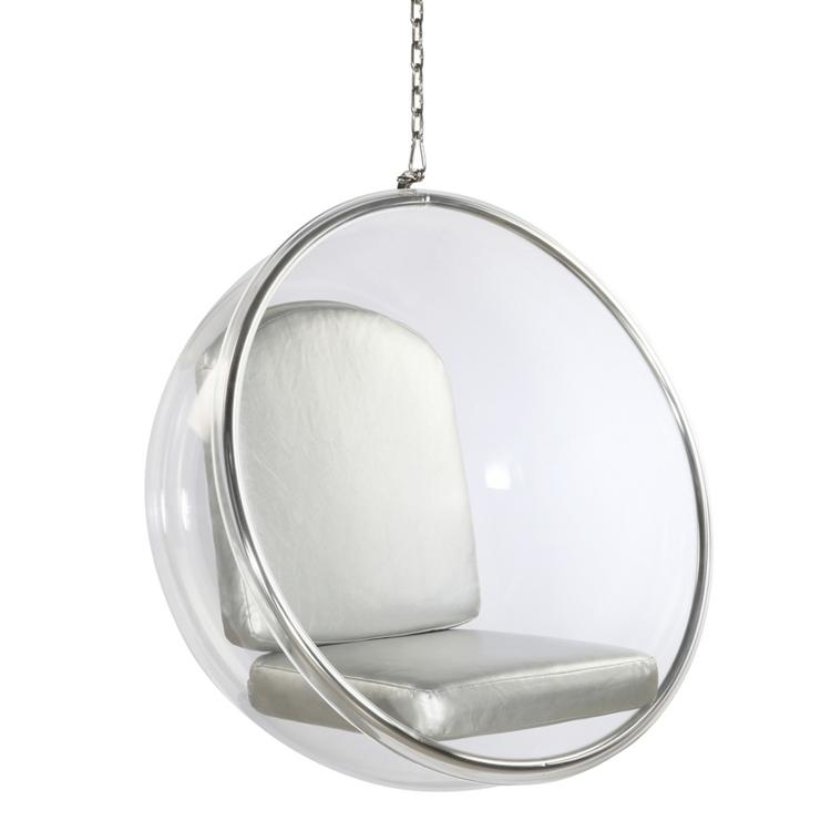 Eero Aarnio Hanging Bubble Chair   Silver Cushions By Modholic