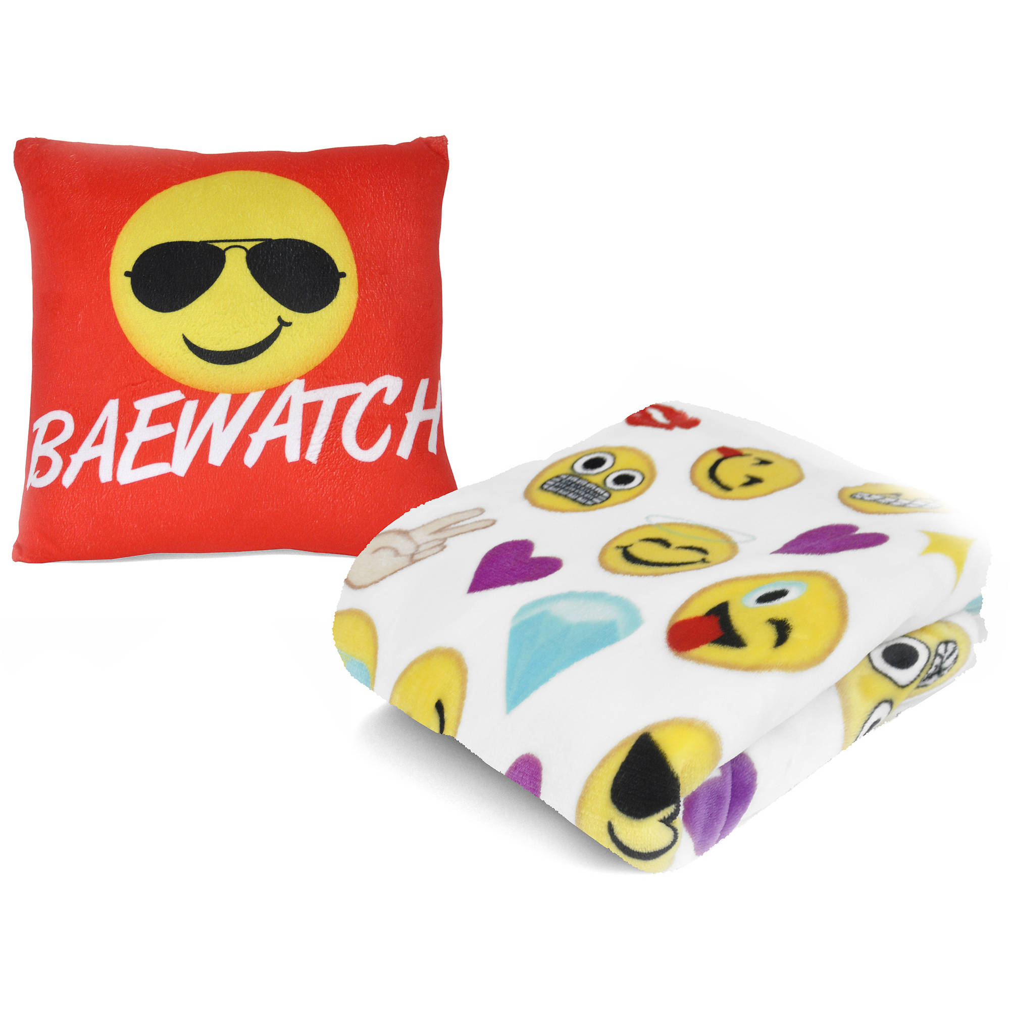 "EmojiPals 12"" x 12"" Pillow and Throw Set"