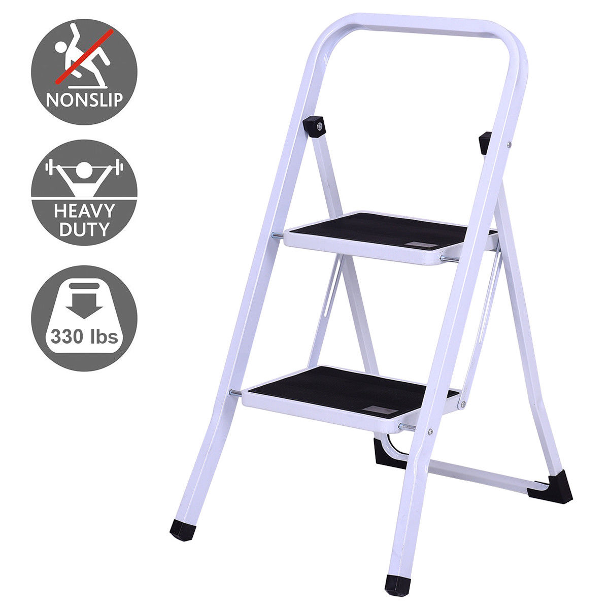 Gymax 2 Step Ladder Folding Steel Step Stool Anti-slip Heavy Duty with 330Lbs Capacity by Gymax