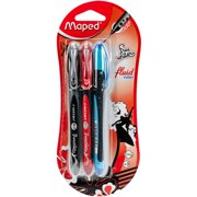 Maped Helix USA 228423 .7 mm Soft Grip Smooth Ink Roller Pen, Black, Blue, & Red - Pack of 3