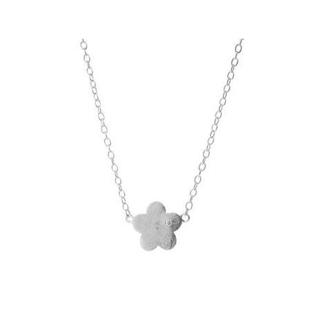 Sterling Silver Satin Graffiato Flower Pendant Necklace, 16 in. - image 1 de 1