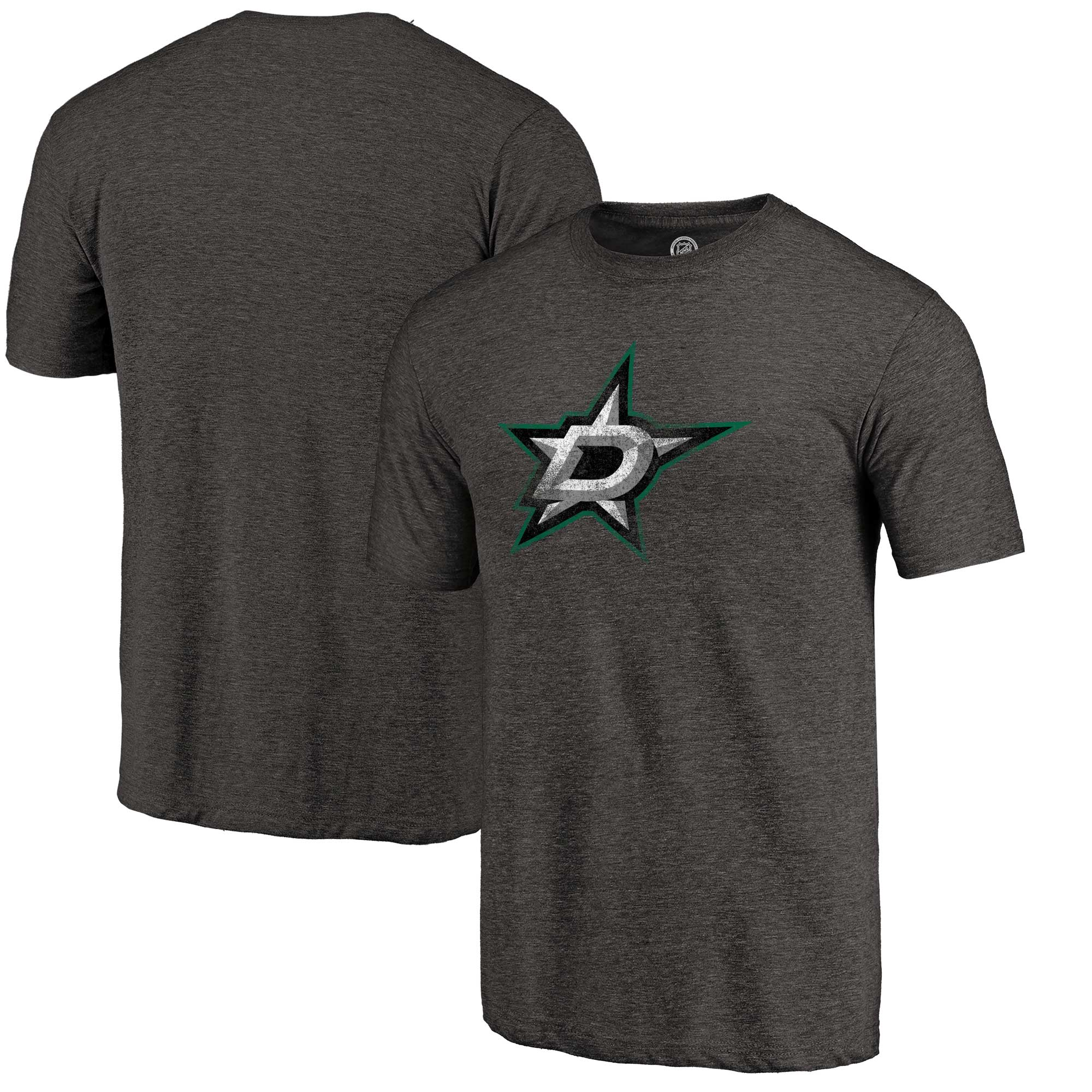 Dallas Stars Fanatics Branded Distressed Primary Logo Tri-Blend T-Shirt - Black