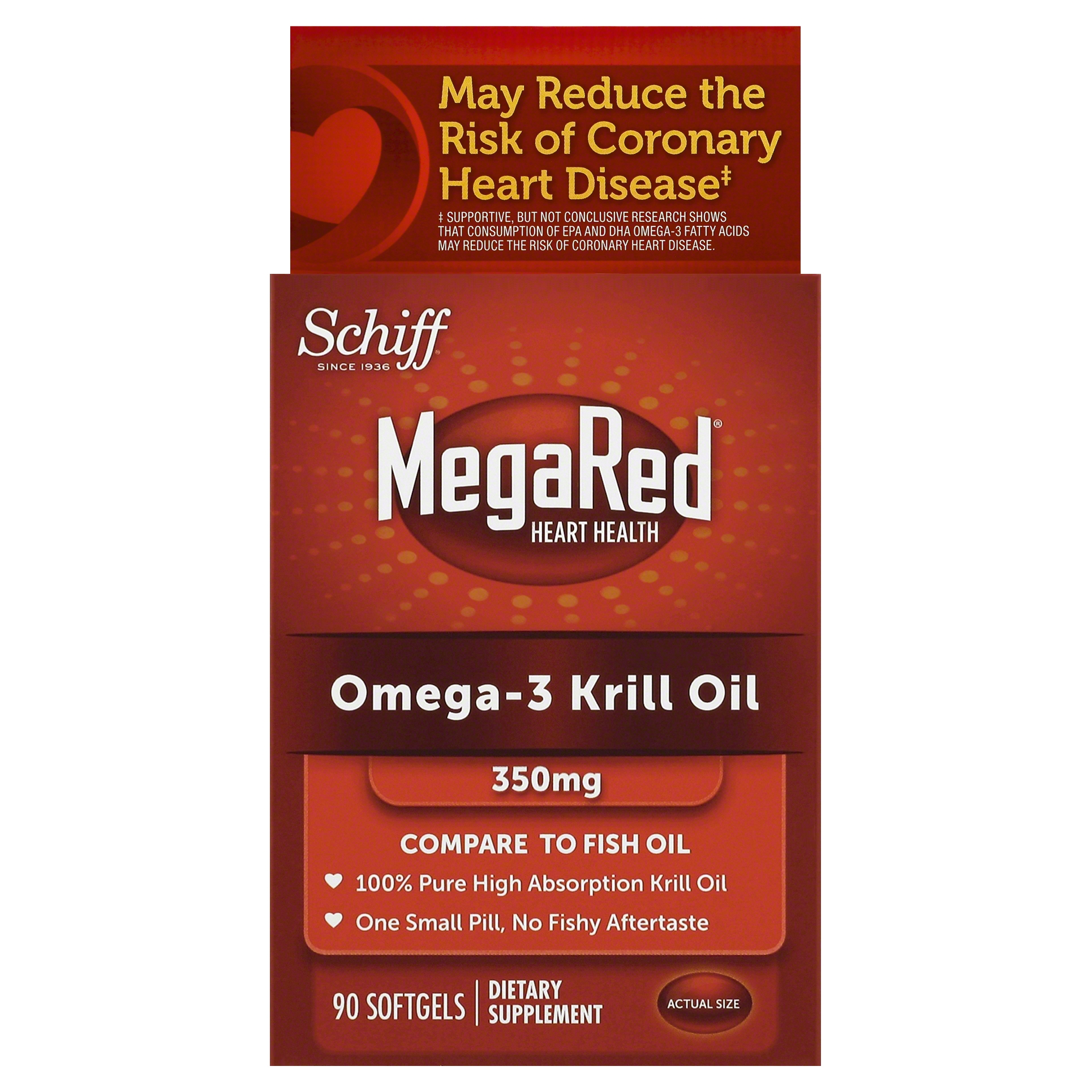 MegaRed Omega 3 Krill Oil 350mg Supplement, 90 Count