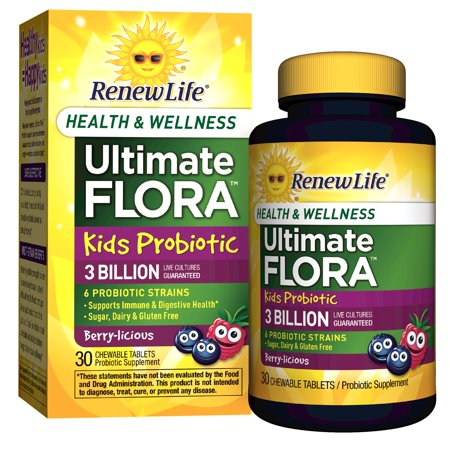 Renew Life Kids Probiotic, Ultimate Flora Health & Wellness, 3 Billion, 30 Chewable Tablets