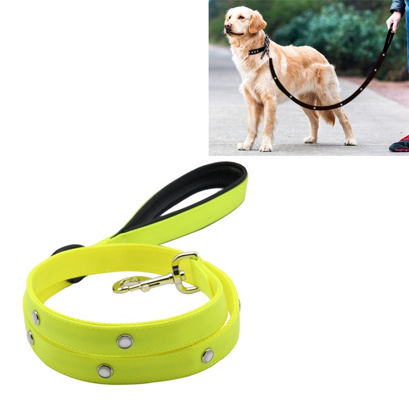 PVC Webbing Material Waterproof LED Light Traction Belt Pet Dogs Traction Rope with Handle, Suitable For Medium and Large Dogs, Rope Length:120 cm - Yellow