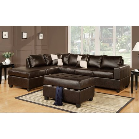 3 Piece Modern Reversible Tufted Bonded Leather Sectional Sofa With Ottoman