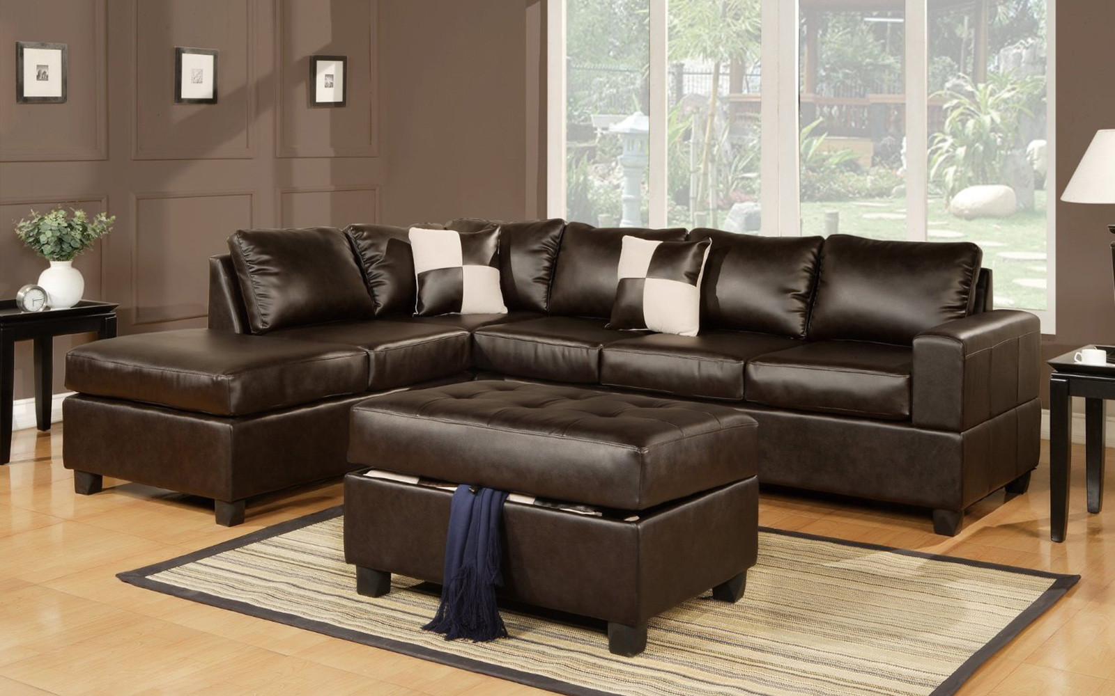 Merveilleux 3 Piece Modern Reversible Tufted Bonded Leather Sectional Sofa With Ottoman