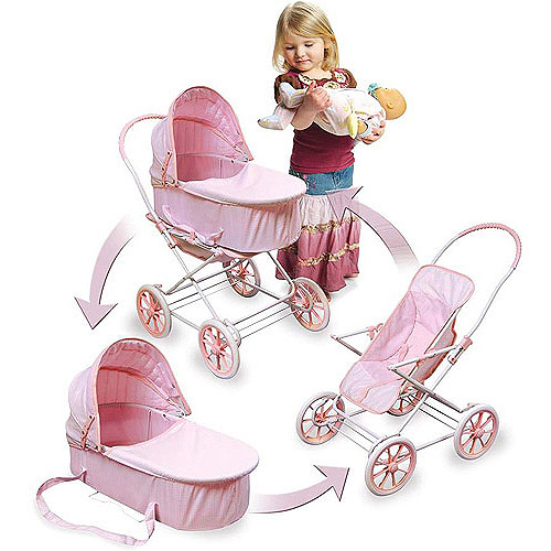 "Badger Basket Pink Gingham 3-in-1 Doll Pram - Fits Most 18"" Dolls & My Life As"