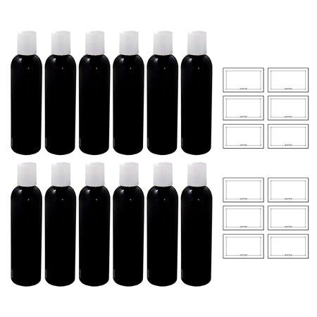 Black 4 oz Slim Cosmo Bullet Refillable PET (BPA Free) Plastic Bottle with White Disc Cap (12 pack) + Labels