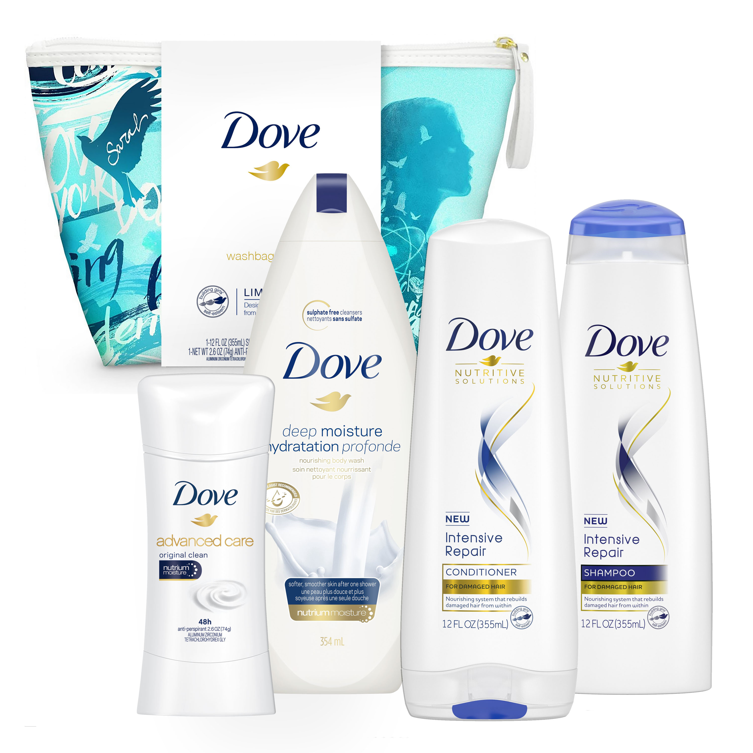 ($26 Value) Dove 5-pc Self-Esteem Project Sarah Holiday Gift Set (Shampoo, Conditioner, Deodorant, Bodywash with Bonus Pouf)