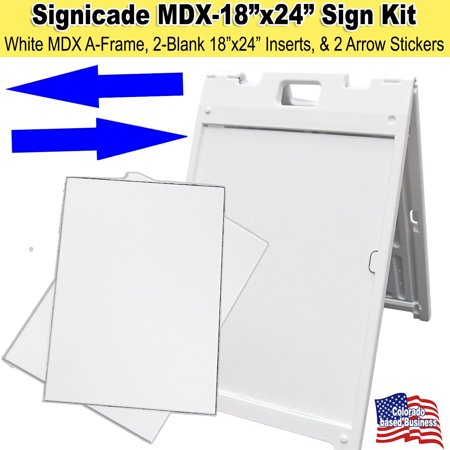 Signicade MDX White A-Frame Sign with panel inserts, arrows and ...