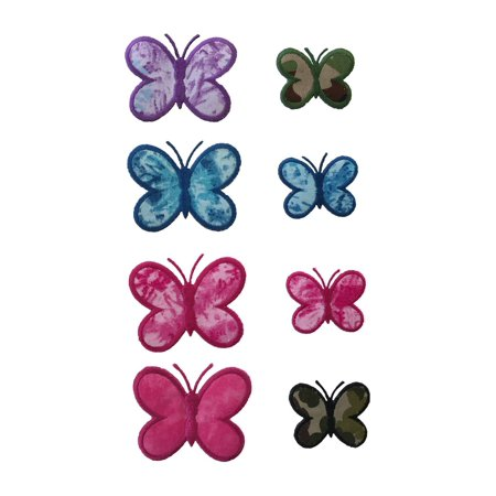 Lily Camouflage Crack Print Fabric Iron on Butterfly in Blue Pink Purple Green (Purple Butterfly Dart Flights)