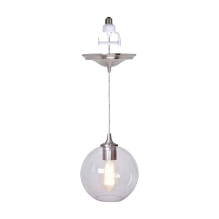 Vintage Light Kit - Worth Home Products Instant Pendant Recessed Light Conversion Kit Brushed Nickel Clear Globe Shade with Vintage Bulb