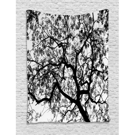 Apartment Decor Tapestry, Forest Tree Branches Modern Decor Spooky Horror Movie Themed Print, Wall Hanging for Bedroom Living Room Dorm Decor, 40W X 60L Inches, Black and White, by Ambesonne