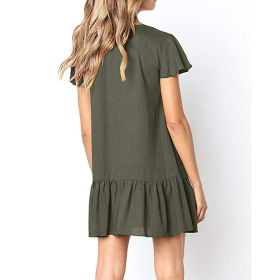235dd1c483d FRESHLOOK - Womens V Neck Button Down Shirt Dresses Short Sleeve ...