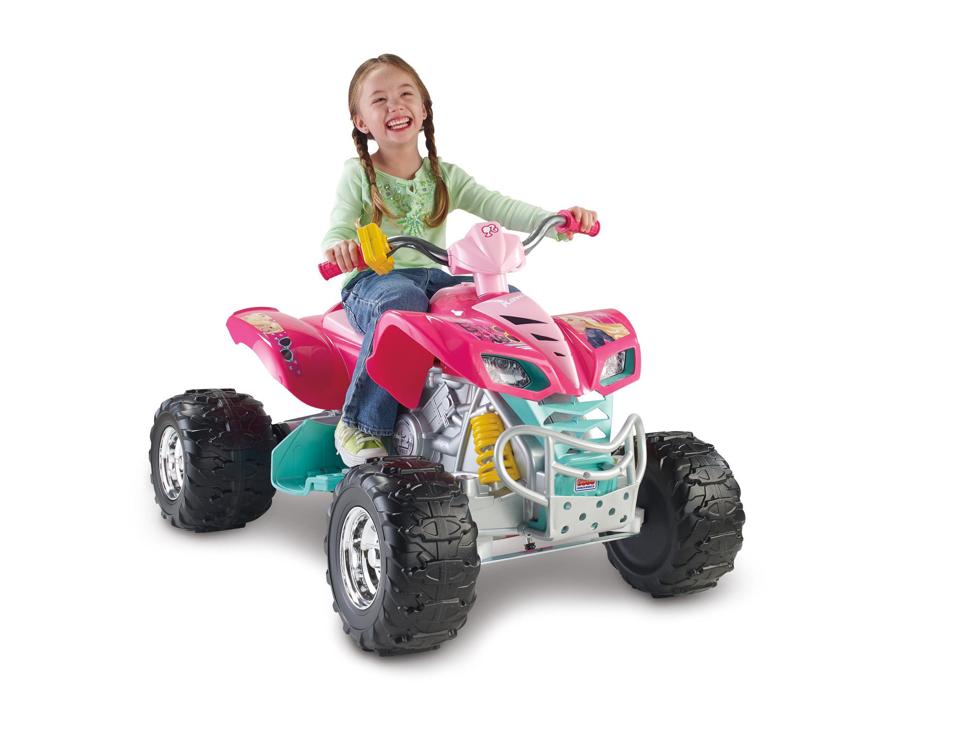 S Ride On Atv 4 Wheeler Barbie Kawasaki Kfx Vehicle 12 Volt Battery Ed