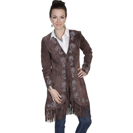 - Scully Western Jacket Womens Fringe Embroidered Suede L165