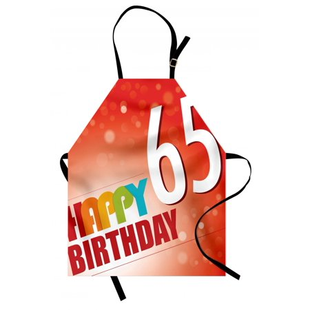 65th Birthday Apron Abstract Sun Rays Layout with Colorful Lettering Greetings in Retro Style, Unisex Kitchen Bib Apron with Adjustable Neck for Cooking Baking Gardening, Multicolor, by
