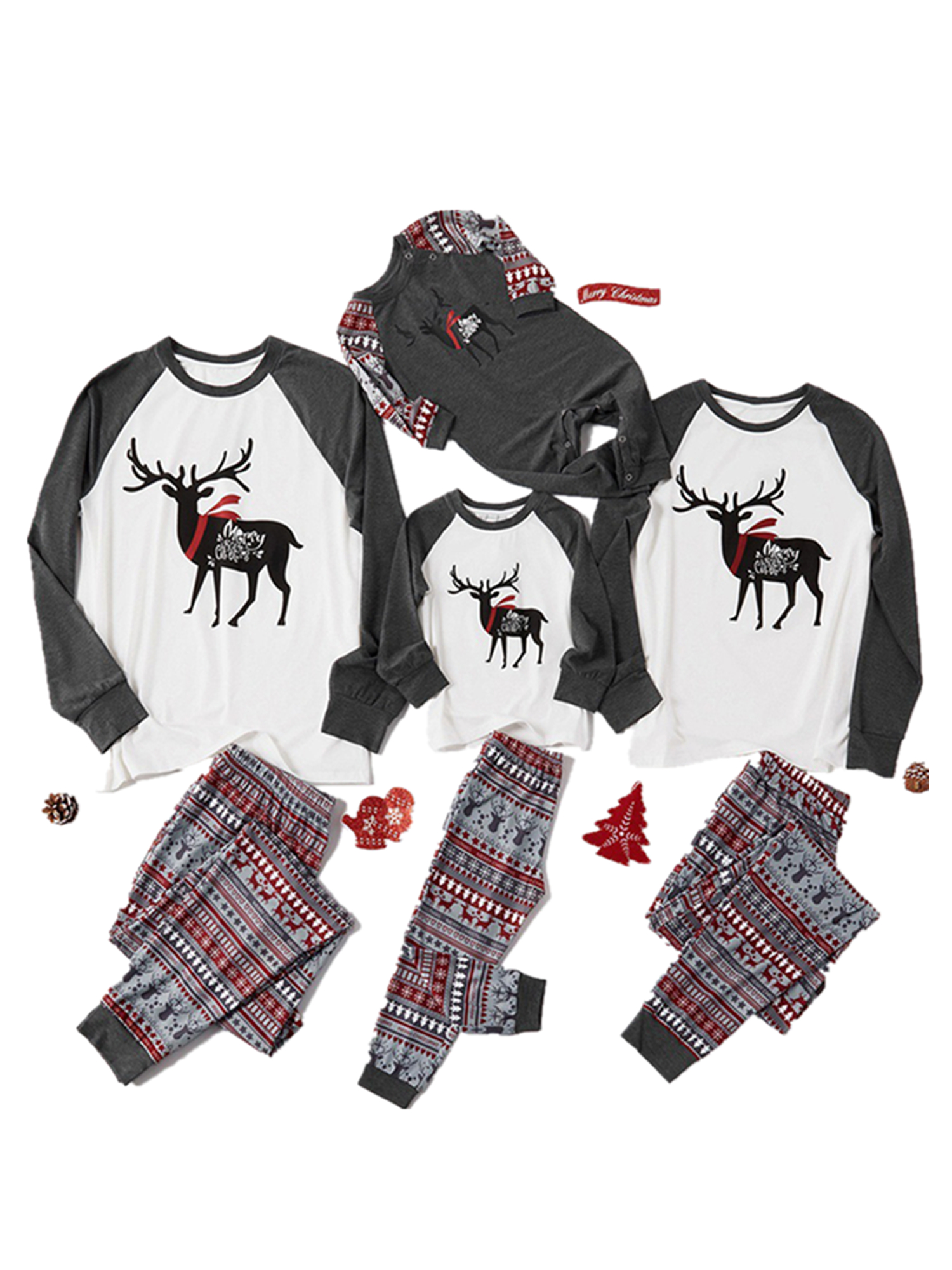Christmas Daddy Mom Children Cartoon Hat Print Top+Pants Family Clothes Pajamas