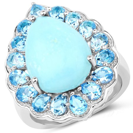 925 Sterling Silver Genuine Turquoise and Swiss Blue Topaz Ring (8.73 Carat) Multiple (Carats Genuine Tanzanite Ring)