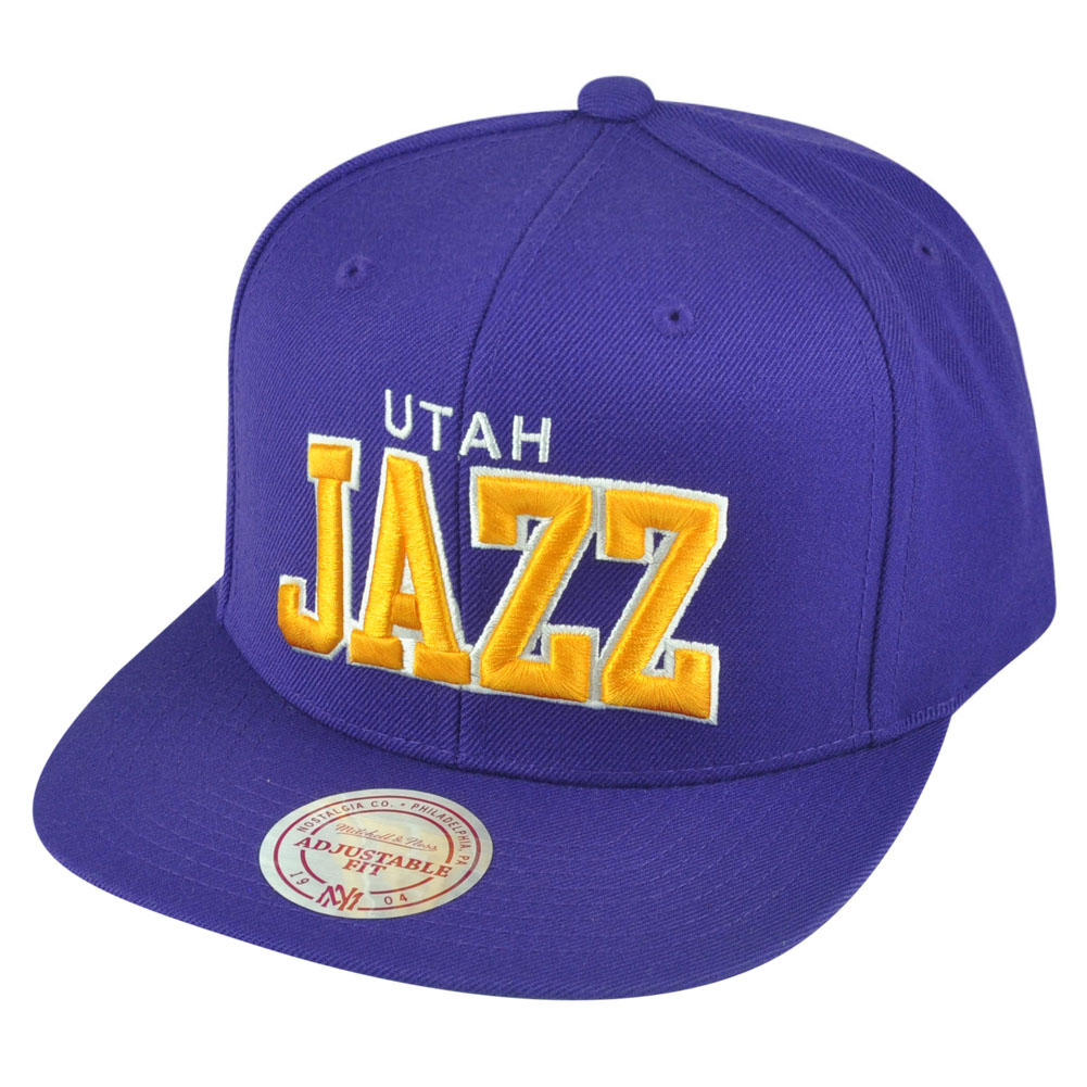 NBA Mitchell Ness Utah Jazz NZH88 Purple Arch Solid Snapback Flat Bill...