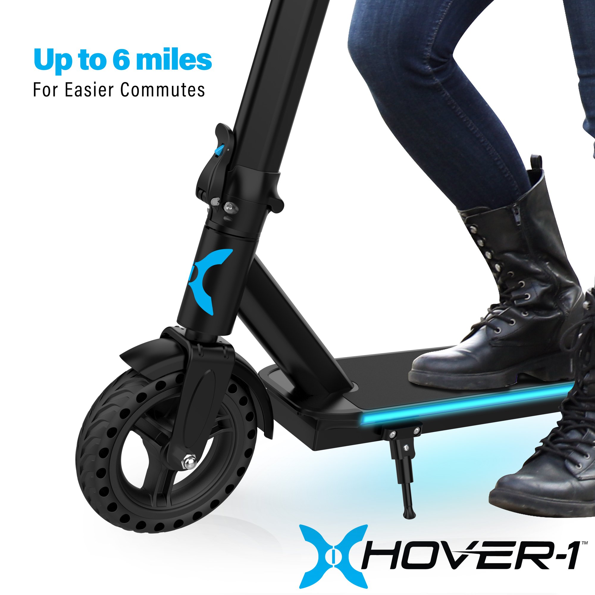 Hover-1 Edge Electric Scooter w/ LED Headlight, Built-in Bluetooth Speaker, 15 MPH Max Speed, 264 lbs Max Weight, 6 Miles Max Distance - Black