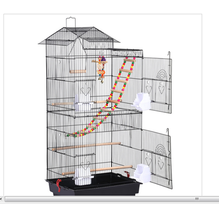 Yaheetech 39''H Roof Top Large Metal Bird Cage Parrot Cockatiel Conure Parakeet Budgie Finch Lovebird Pet Bird Cage w/Toys ()